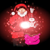 Santa Claus and gifts with Christmas background and greeting card vector Royalty Free Stock Photo
