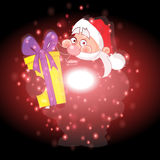 Santa Claus and gifts with Christmas background and greeting card vector Stock Photos