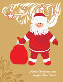 Santa Claus with gifts. Christmas card royalty free stock photos