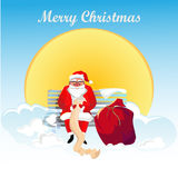 Santa Claus with gifts. Christmas. New Year. Celebration. Santa Claus sitting on a cloud on a background of the sun. In his hands he holds a list of gifts. Next Royalty Free Stock Photography