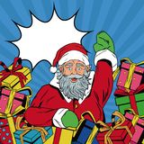 Santa claus with gifts Christmas pop art. Vector illustration graphic stock illustration