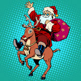 Santa Claus with gifts Christmas reindeer Rudolf Royalty Free Stock Photo