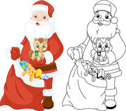 Santa Claus with gifts coloring page Stock Photos