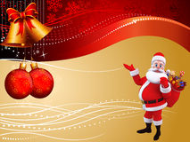 Santa claus with gifts on cream colored background Royalty Free Stock Images