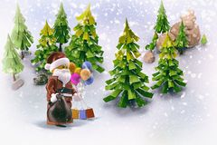 Santa Claus with gifts in the forest. 3D rendering. Royalty Free Stock Photography