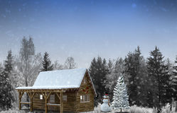 Santa Claus with gifts in the forest. 3D rendering. Royalty Free Stock Image