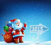 Santa Claus with gifts goes to Merry Christmas Royalty Free Stock Images