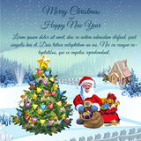 Santa Claus with gifts in his residence stock illustration