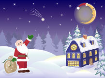 Santa Claus with gifts and  moon. Christmas Santa Claus with sack Full of gifts. Smiling the moon in cap Santa. Celebratory illustration Royalty Free Stock Photography