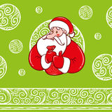 Santa Claus with gifts and pattern. Santa Claus with gifts in a sack and frosty pattern and seamless canvas Stock Image