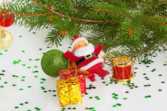 Santa claus with gifts and red drum Stock Photo