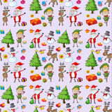 Santa claus, gifts and reindeers Royalty Free Stock Image