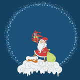 Santa Claus with gifts on the roof around snowflakes round frame. Vector christmas postcard Stock Photos