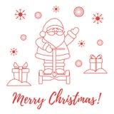 Santa Claus, gifts, snowflakes. Santa Claus, gifts, snowdrifts, snowflakes. New Year and Christmas symbols Vector Illustration