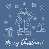 Santa Claus, gifts, snowflakes. Santa Claus, gifts, snowdrifts, snowflakes. New Year and Christmas symbols royalty free illustration
