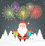 Santa Claus with gifts on snowy background. Stock Photography