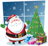 Santa Claus with gifts under Christmas tree Royalty Free Stock Photos