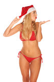 Santa Claus girl in a bathing suit Stock Images