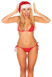 Santa Claus girl in a bathing suit Royalty Free Stock Photo