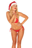 Santa Claus girl in a bathing suit Stock Photos