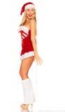Santa Claus girl behind board Royalty Free Stock Photography