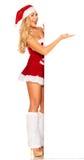 Santa Claus girl behind board Stock Image