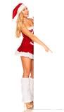 Santa Claus girl behind board Stock Photography