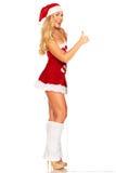 Santa Claus girl behind board Stock Photo