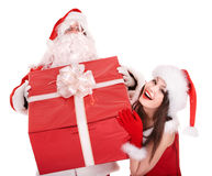 Santa claus and girl with big gift box. Stock Image