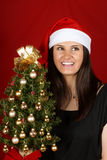 Santa Claus girl with Christmas tree Stock Photography