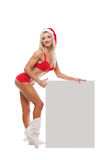 Santa Claus girl. Near a white board Royalty Free Stock Photo