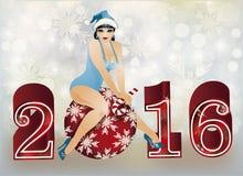 Santa claus girl new 2016 year card, vector Stock Photos