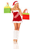 Santa Claus girl with purchases Stock Photography