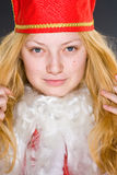 Santa Claus Girl serious Stock Image
