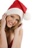 Santa claus girl smiling Royalty Free Stock Photos