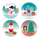 Santa claus , Girl , Snowman and home Stock Photography