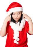 Santa Claus girl thinking Stock Images
