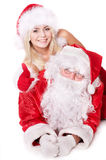 Santa claus and  girl thumb up.. Stock Image