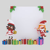 Santa claus girls holding a paper. 3D Royalty Free Stock Image