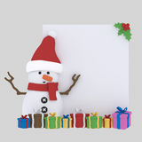 Santa claus girls holding a paper. 3D Royalty Free Stock Photography
