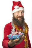 Santa Claus gives a gift Stock Photo