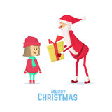Santa Claus gives a gift to girl. Flat Vector Illustration. Santa Claus gives a gift to girl. Christmas card with Santa Claus and little girl. Flat Vector Royalty Free Stock Photos