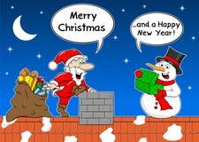 Santa claus gives a gift to a snowman at christmas Royalty Free Stock Photos
