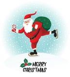 Santa Claus gives gifts on skates. Vector illustration. Stock Photography