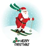 Santa Claus gives gifts on skiing. Vector illustration. Royalty Free Stock Images