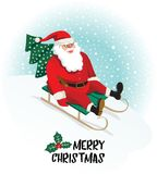 Santa Claus gives gifts on Sledging. Vector illustration. Stock Photography