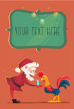 Santa Claus gives presents rooster. Christmas vector illustration. The symbol of the new year 2017. Cartoon characters Royalty Free Stock Photography