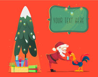 Santa Claus gives presents rooster. Christmas vector illustration. The symbol of the new year 2017. Cartoon characters Stock Images