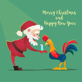 Santa Claus gives presents rooster. Christmas vector illustration.  Royalty Free Stock Photos