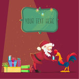 Santa Claus gives presents rooster. Christmas vector illustration.  Royalty Free Stock Photo